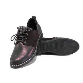 Равни дамски обувки - естествена кожа - бордо - EO-13104