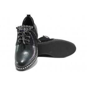 Равни дамски обувки - естествена кожа - сиви - EO-13105