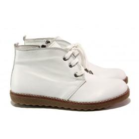 Дамски боти - естествена кожа - бели - EO-13143