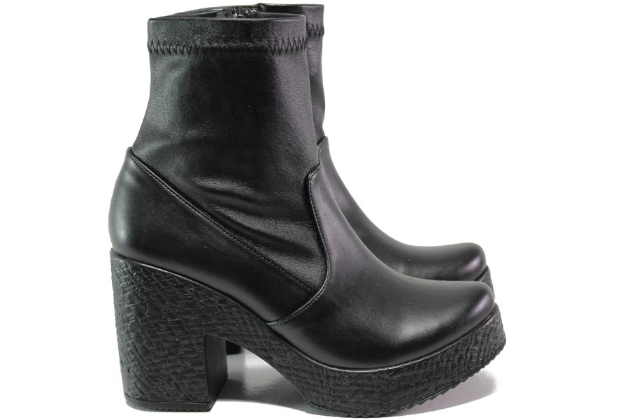 Дамски боти - висококачествена еко-кожа - черни - EO-13183