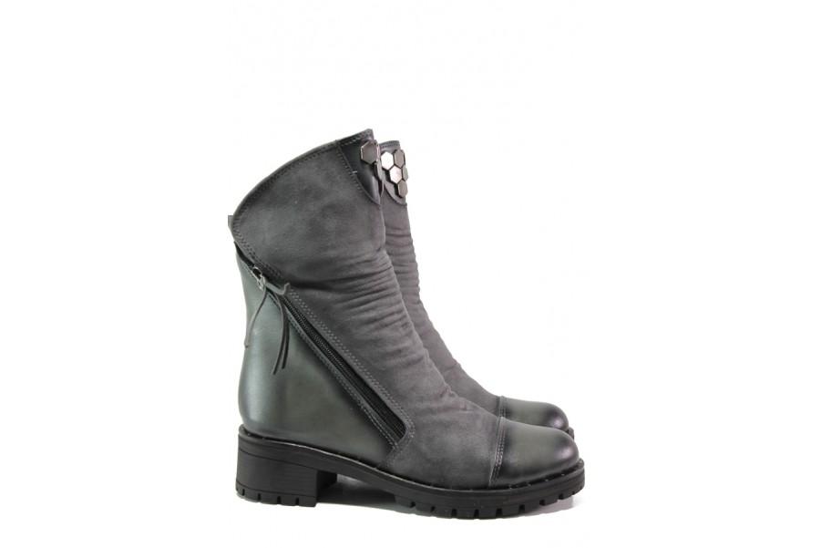 Дамски боти - висококачествена еко-кожа - сиви - EO-13190