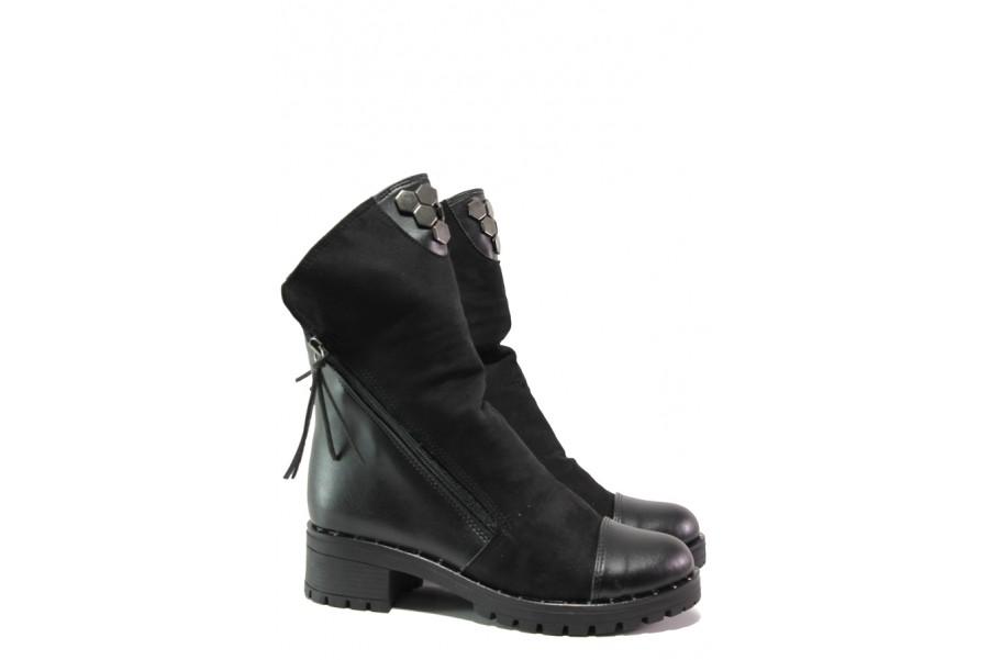 Дамски боти - висококачествена еко-кожа - черни - EO-13189
