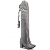 Дамски ботуши - висококачествен текстилен материал - сиви - EO-13191