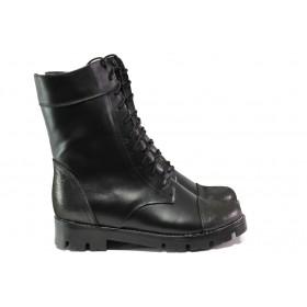Дамски боти - естествена кожа - черни - EO-13219