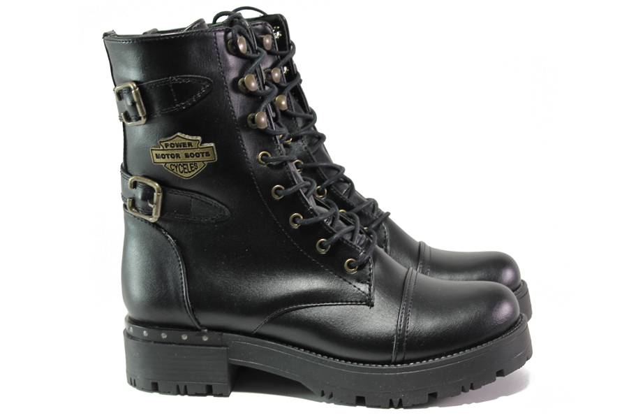 Дамски боти - висококачествена еко-кожа - черни - EO-13228