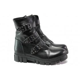 Дамски боти - естествена кожа - черни - EO-13229