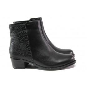 Дамски боти - естествена кожа - черни - EO-13255