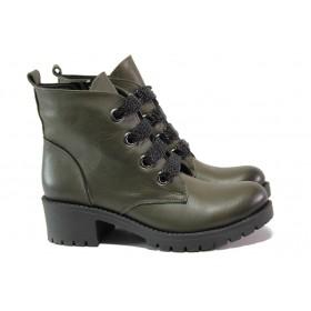 Дамски боти - естествена кожа - зелени - EO-13253