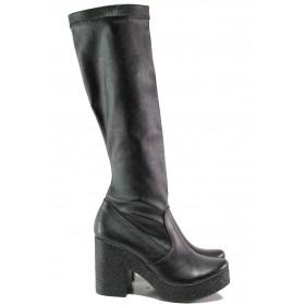 Дамски ботуши - висококачествена еко-кожа - черни - EO-13324