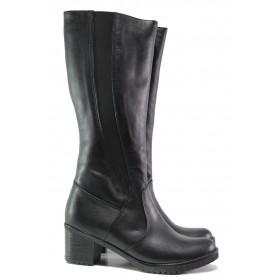 Дамски ботуши - естествена кожа - черни - EO-13335