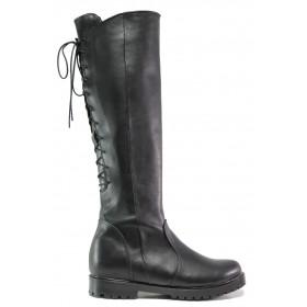 Дамски ботуши - естествена кожа - черни - EO-13333