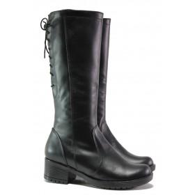 Дамски ботуши - естествена кожа - черни - EO-13336