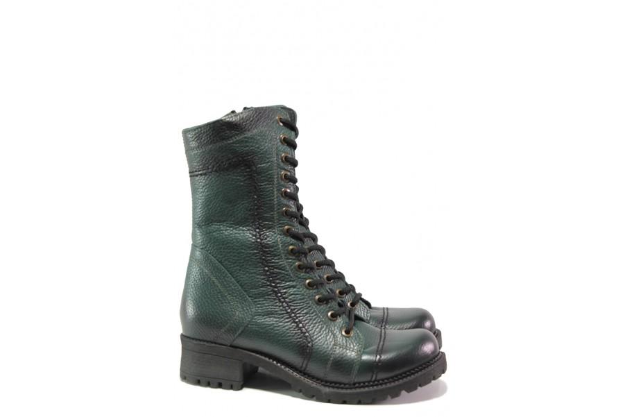 Дамски боти - естествена кожа - зелени - EO-13376