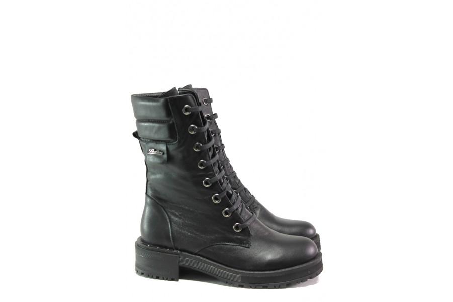 Дамски боти - естествена кожа - черни - EO-13377