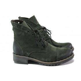 Дамски боти - естествен велур - зелени - EO-13393