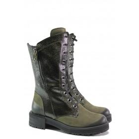 Дамски боти - естествен набук - зелени - EO-13412