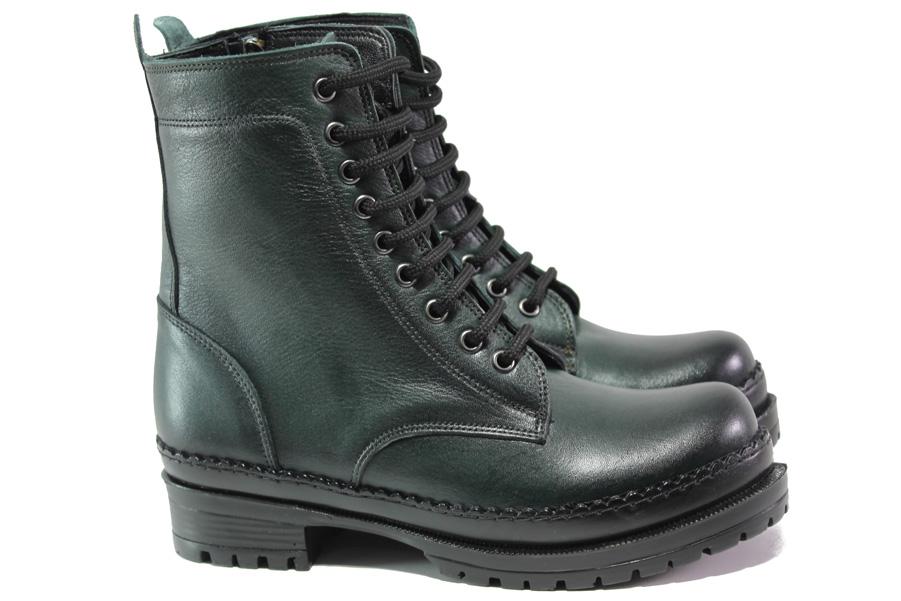 Дамски боти - естествена кожа - зелени - EO-13409