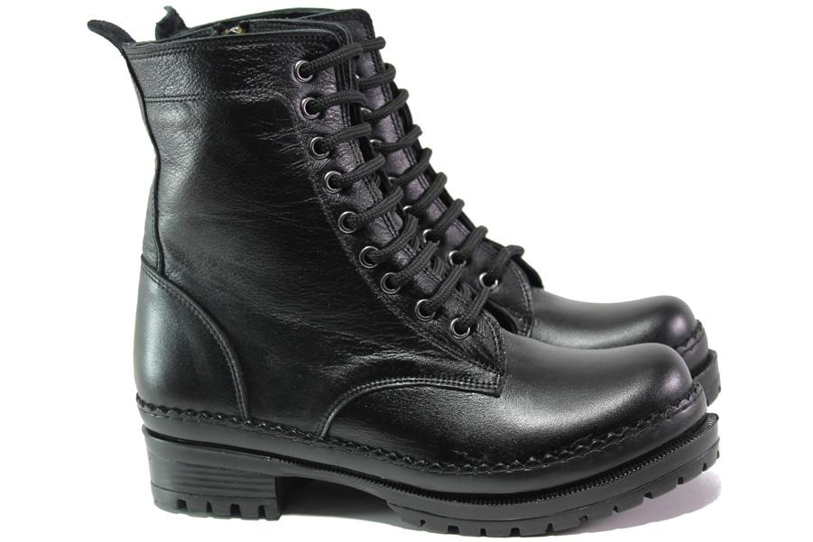 Дамски боти - естествена кожа - черни - EO-13410