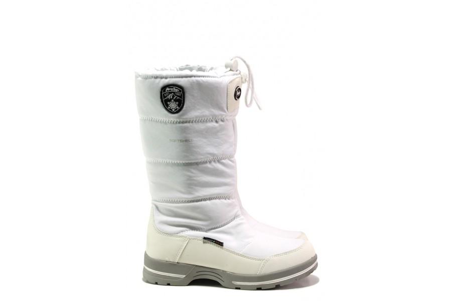 Дамски ботуши - висококачествен текстилен материал - бели - EO-13439