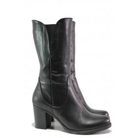 Дамски ботуши - естествена кожа - черни - EO-13442