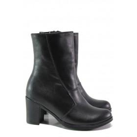 Дамски боти - естествена кожа - черни - EO-13466