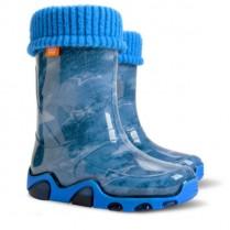 Детски ботуши - висококачествен pvc материал - сини - EO-12907