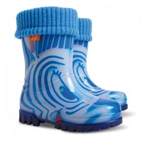 Детски ботуши - висококачествен pvc материал - сини - EO-12911