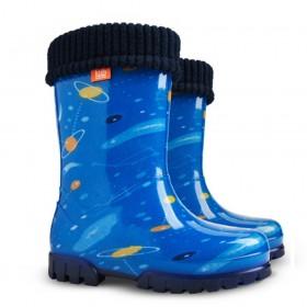 Детски ботуши - висококачествен pvc материал - сини - EO-12916