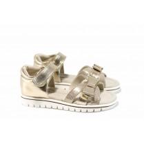 Детски сандали - висококачествена еко-кожа - жълти - EO-12669