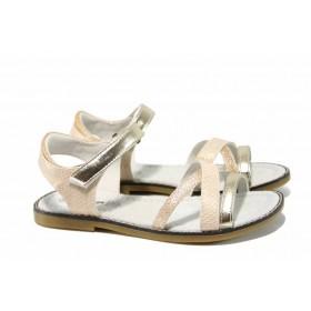 Детски сандали - висококачествена еко-кожа - бежови - EO-12673