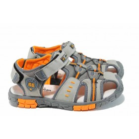 Детски сандали - висококачествена еко-кожа - сиви - EO-12661
