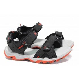 Детски сандали - висококачествена еко-кожа - черни - EO-12659