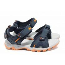 Детски сандали - висококачествена еко-кожа - сини - EO-12658