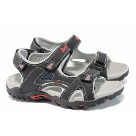Детски сандали - висококачествена еко-кожа - черни - EO-12664