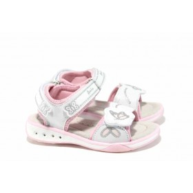 Детски сандали - висококачествена еко-кожа - бели - EO-12676