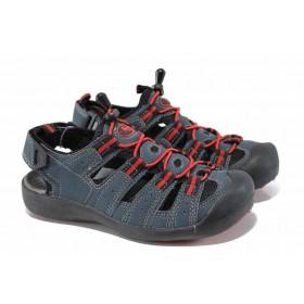 Детски сандали - висококачествена еко-кожа - сини - EO-12765