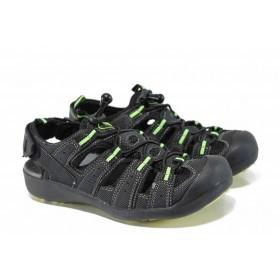 Детски сандали - висококачествена еко-кожа - черни - EO-12766