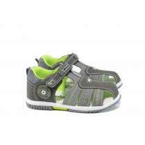 Детски сандали - висококачествена еко-кожа - сиви - EO-12757