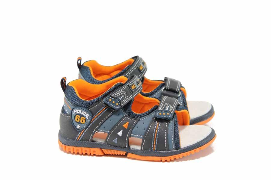 Детски сандали - висококачествена еко-кожа - сини - EO-12751