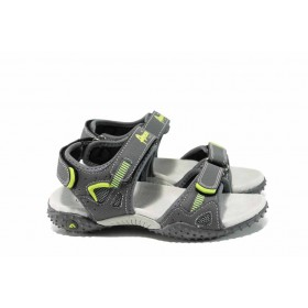 Детски сандали - висококачествена еко-кожа - сиви - EO-12763