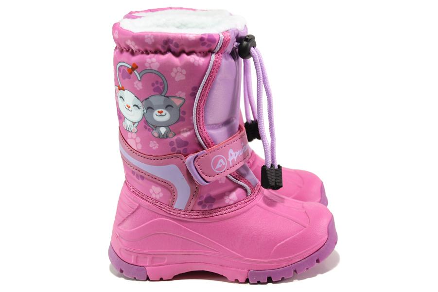 Детски ботуши - висококачествен pvc материал и текстил - розови - EO-13272