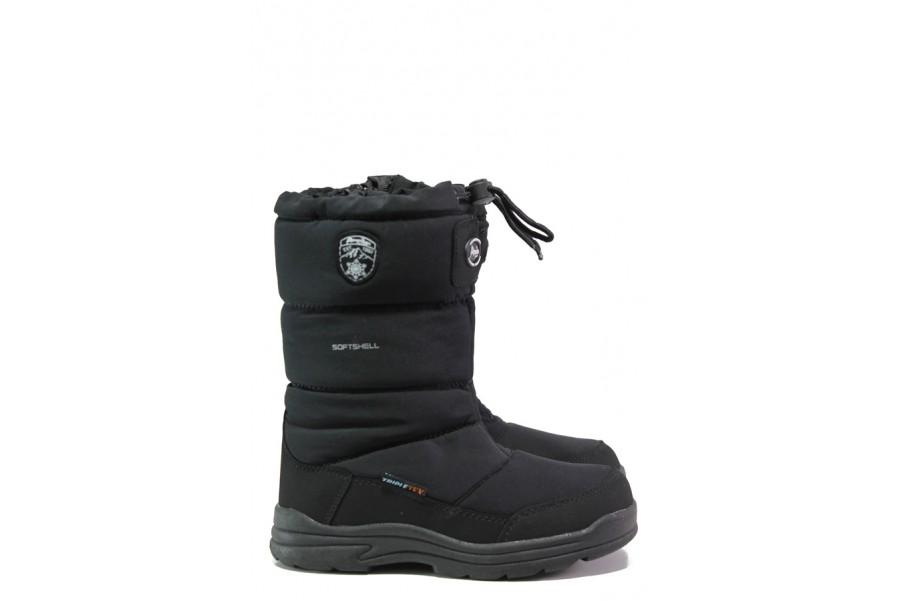Детски ботуши - висококачествен текстилен материал - черни - EO-13446