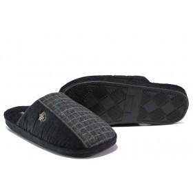 Домашни чехли - висококачествен текстилен материал - черни - EO-13160