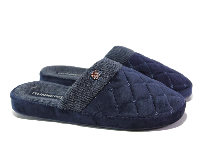 Домашни чехли - висококачествен текстилен материал - сини - EO-13159