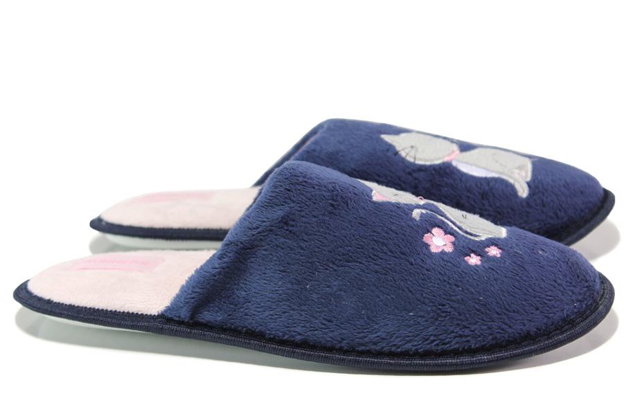 Домашни чехли - висококачествен текстилен материал - сини - EO-13147
