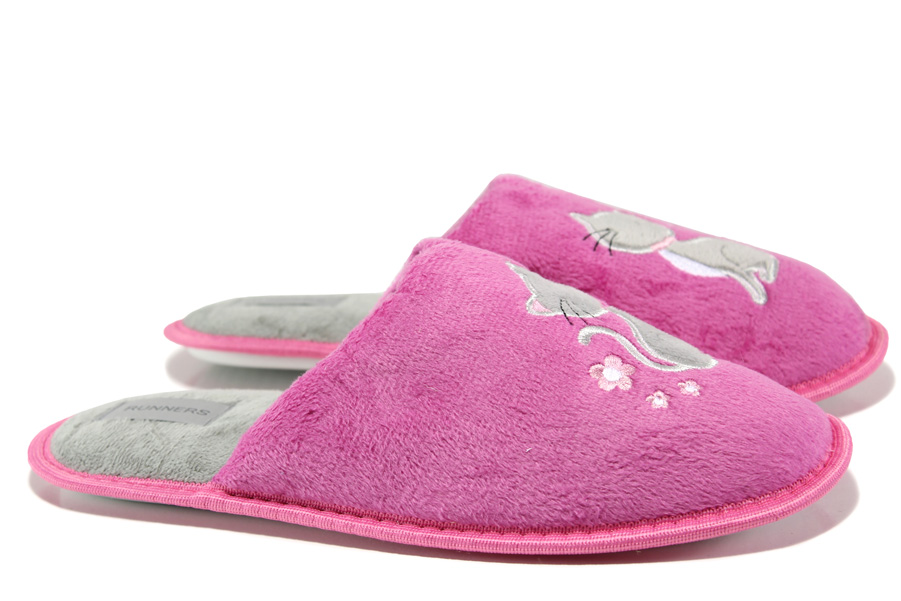 Домашни чехли - висококачествен текстилен материал - розови - EO-13145