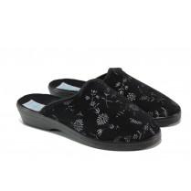 Дамски пантофи - висококачествен текстилен материал - черни - EO-13464