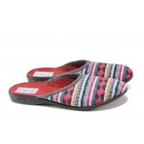 Дамски пантофи - висококачествен текстилен материал - бордо - EO-13462