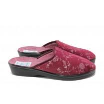 Дамски пантофи - висококачествен текстилен материал - бордо - EO-13463