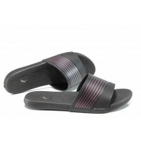 Дамски чехли - висококачествен pvc материал - черни - EO-12588
